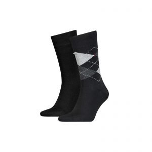 Tommy Hilfiger 2-pack Ruit Sokken zwart