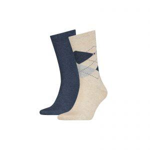 Tommy Hilfiger 2-pack Ruit Sokken beige